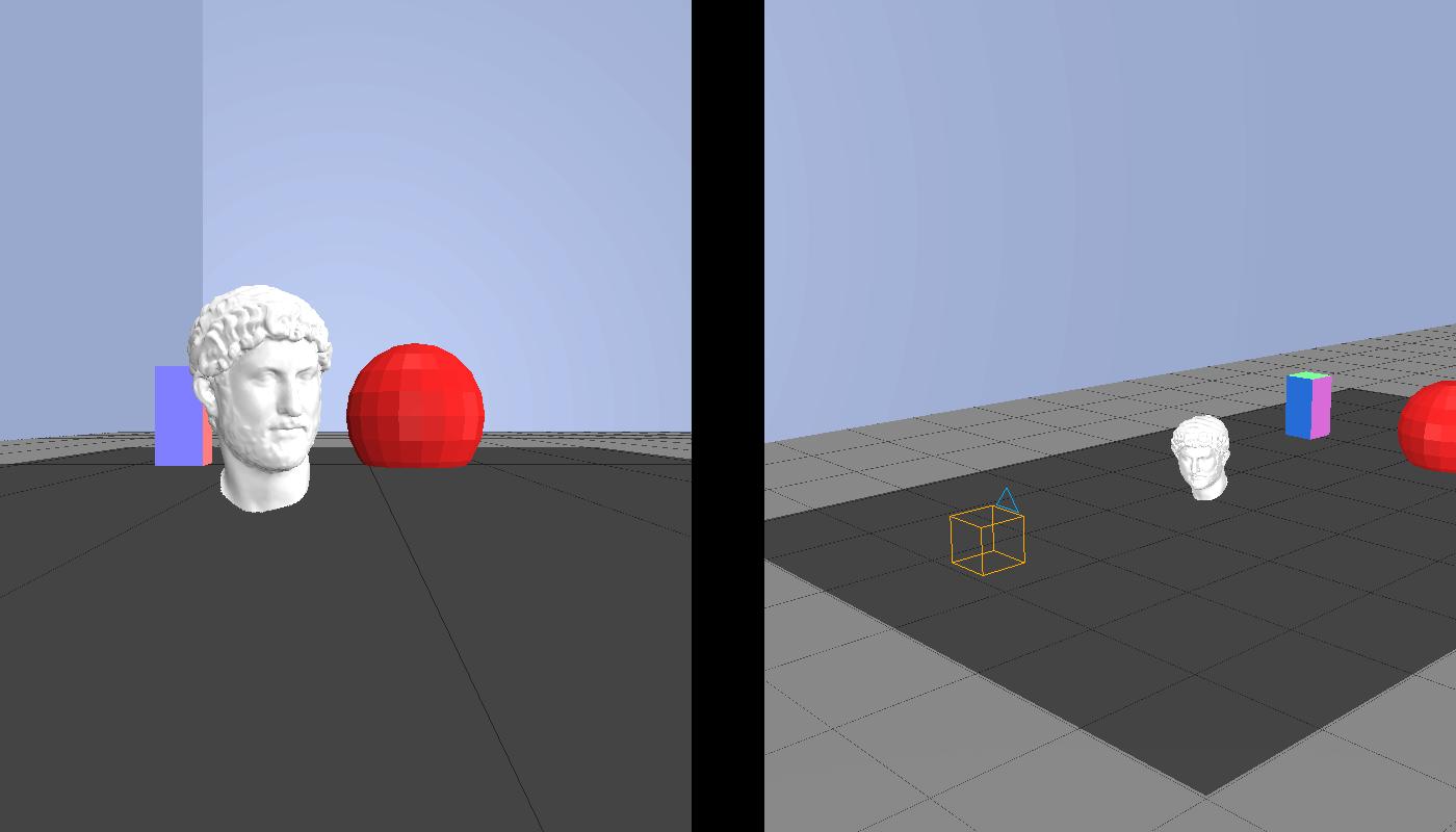 A la derecha, la escena de ejemplo fotografiada por una cámara (cuadro naranja). A la izquierda, la foto tomada por la cámara